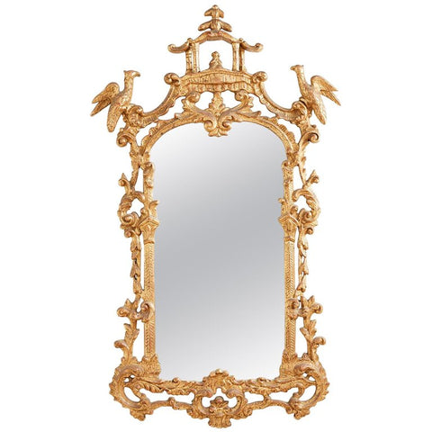 Chinese Chippendale Style Gilt Pagoda Mirror with Hoho Birds