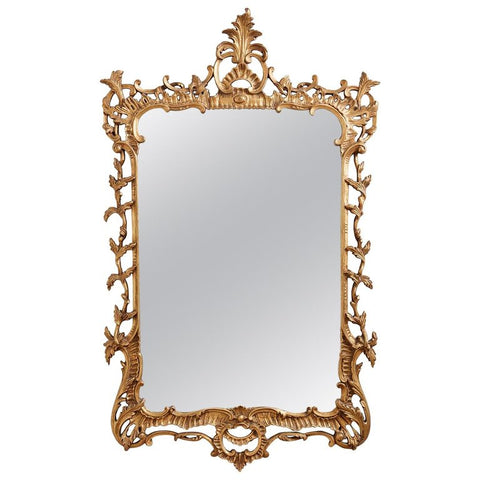 19th Century French Rococo Giltwood Carved Mirror