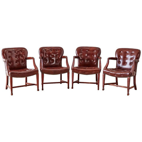 Set of Four Edwardian Tufted Leather Library Chairs