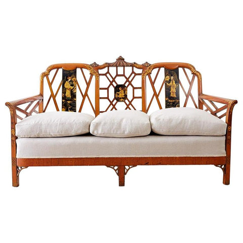English Chinoiserie Chippendale Style Pagoda Top Settee