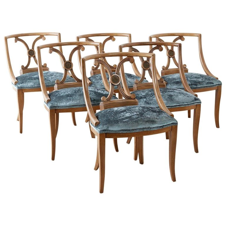 Set of Six Renzo Rutili Neoclassical Dining Chairs