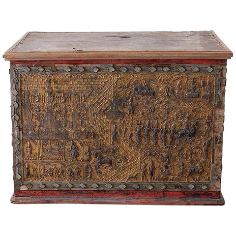 19th Century Burmese Gilt Mosaic Lacquer Trunk