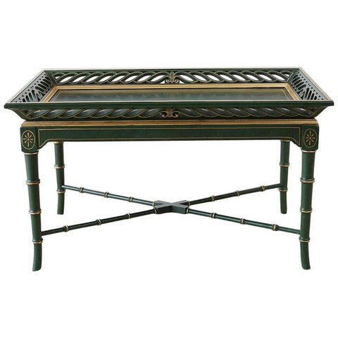 Regency Style Faux Bamboo Parcel Gilt Tray Table