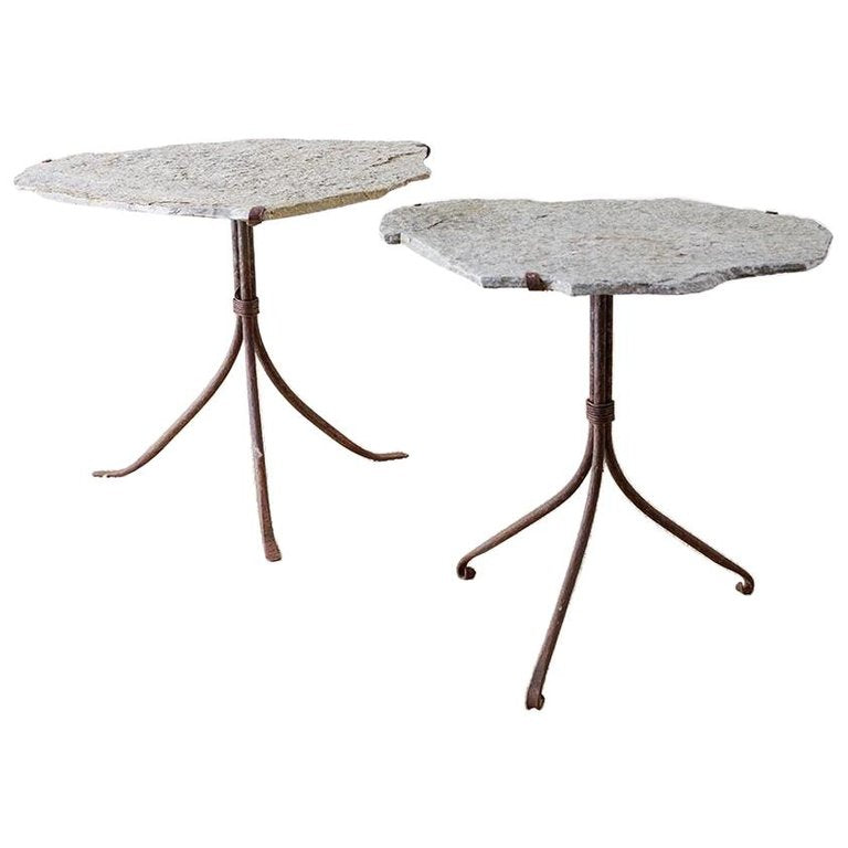 Pair of Live Edge Granite and Iron Drink Tables