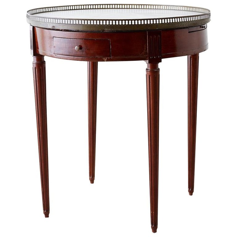 French Louis XVI Style Marble Top Bouillotte Table