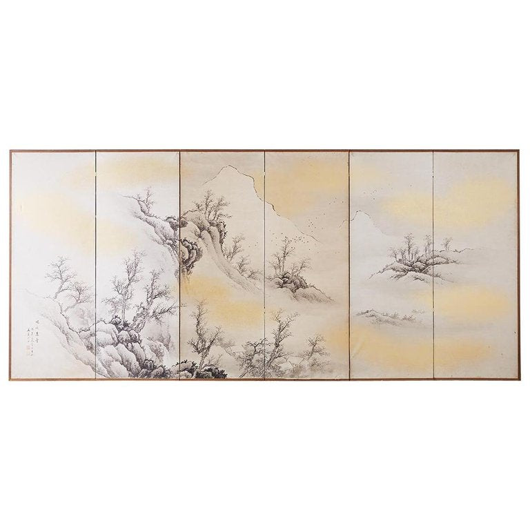 Japanese Six Panel Edo Ink on Paper Landscape Screen