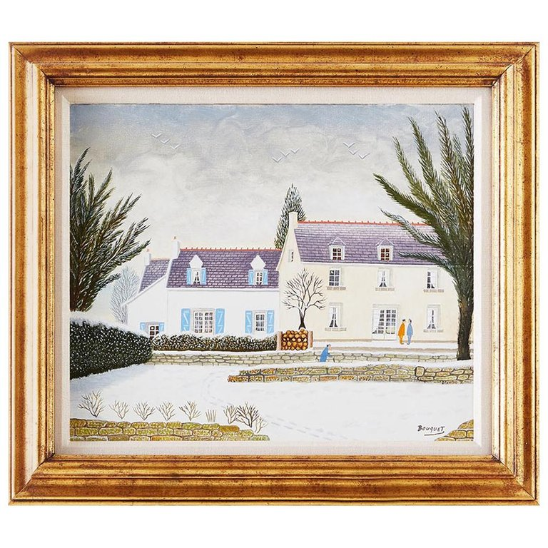 Andre Bouquet Oil on Canvas House with Snow