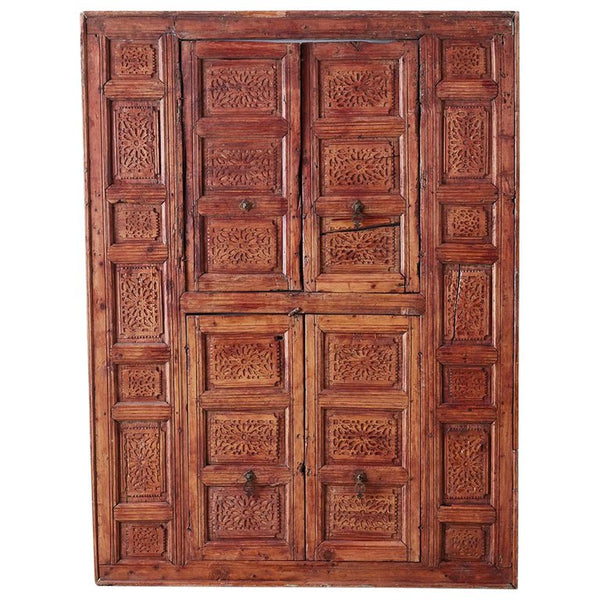 19th Century Indian Carved Panel with Shutter Windows