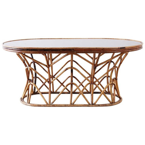 Franco Albini Style Sculptural Bamboo Rattan Dining Table