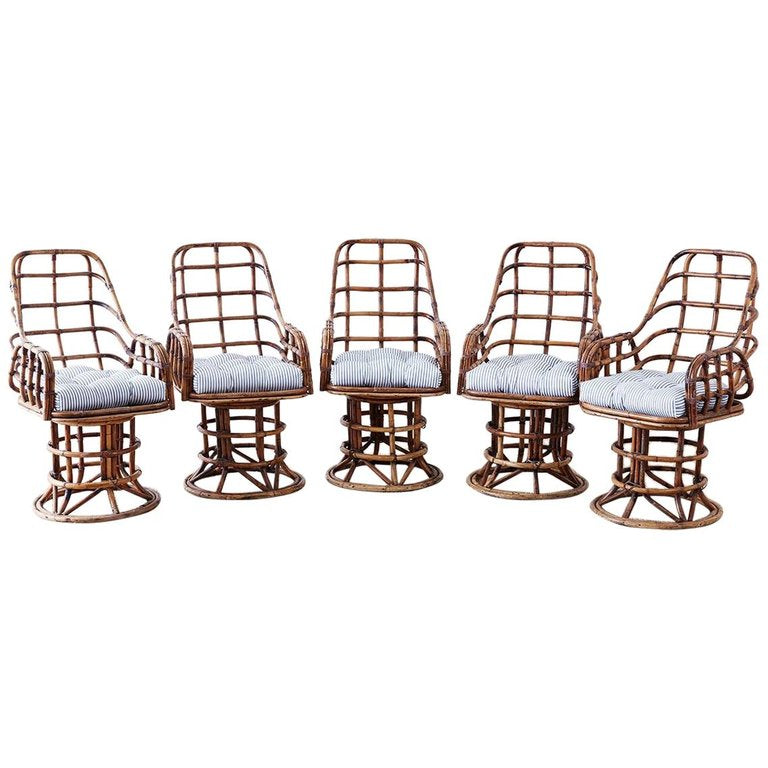 Franco Albini Style Bamboo Rattan Swivel Lounge Chairs