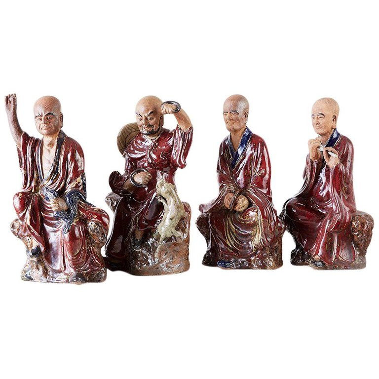 Set of Four Chinese Shiwan Pottery Immortal Dieties