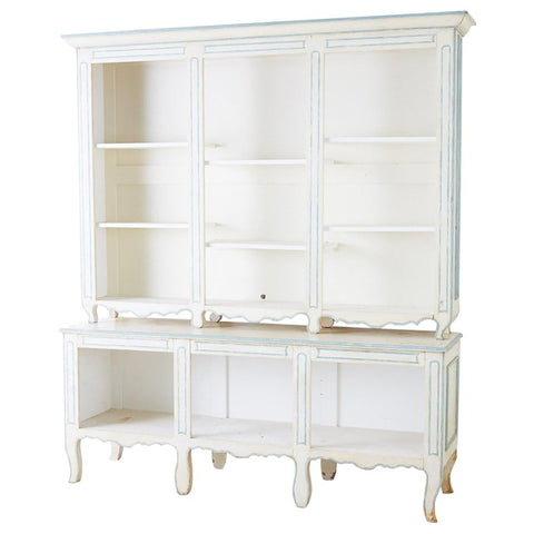 French Provincial Style Painted Open Shelf Cabinet Bookcase
