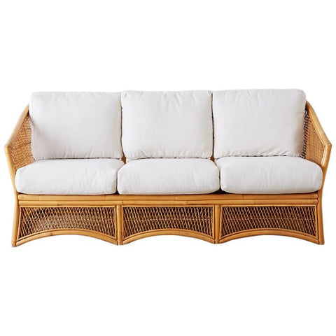 Midcentury Bamboo Rattan Wicker Three-Seat Sofa