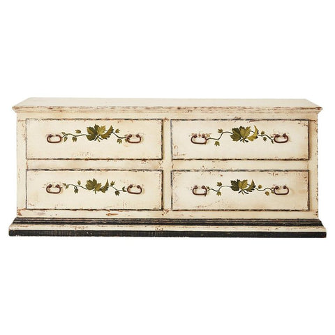 Country Italian Painted Four-Drawer Commode or Sideboard