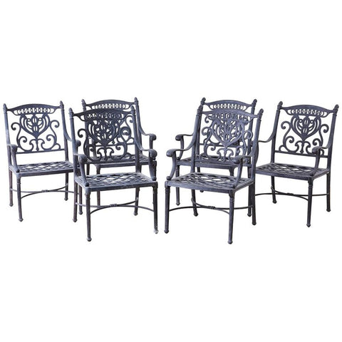 Set of Six Neoclassical Style Cast Iron Garden Chairs