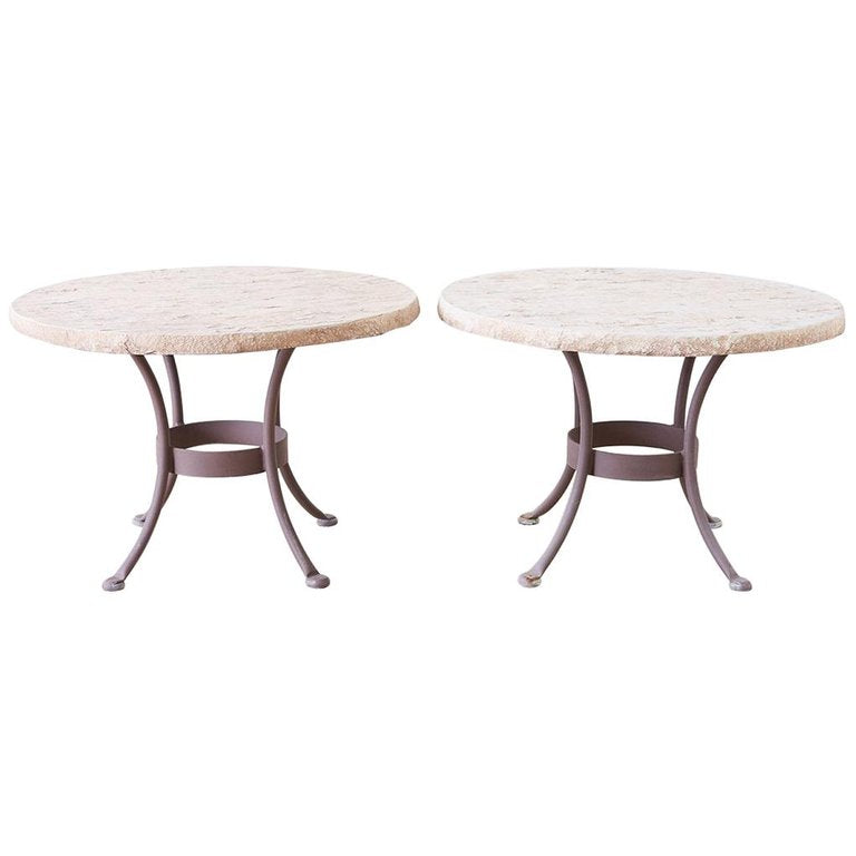 Pair of O.W. Lee Faux-Stone Patio Garden Drink Tables