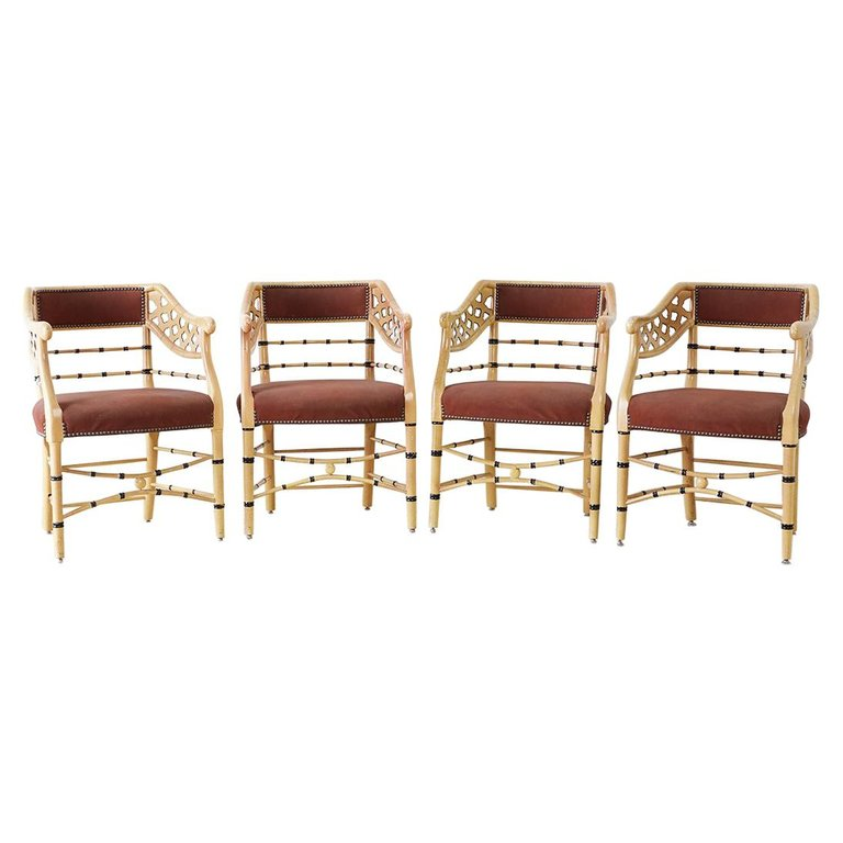 Set of Four Faux-Bamboo Lacquered Lounge Chairs