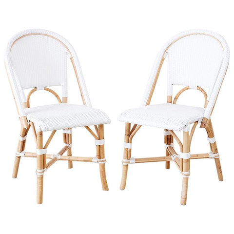 Serena and Lily Bamboo Riviera Rattan French Bistro Chairs