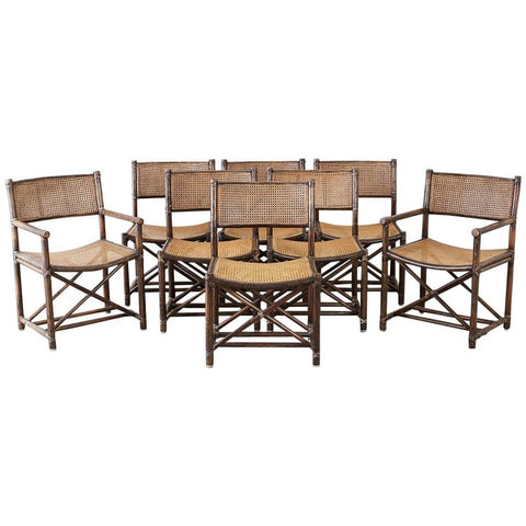 Set of Eight McGuire Bamboo Rattan Cane Dining Chairs