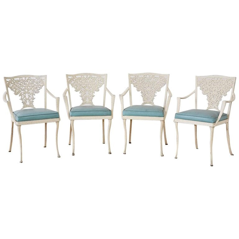 Set of Four French Aluminum Floral Garden Patio Chairs