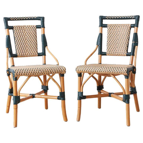 Pair of Palecek Bamboo Rattan Bistro Cafe Chairs