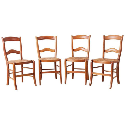 Set of Four Country French Rush Seat Dining Chairs