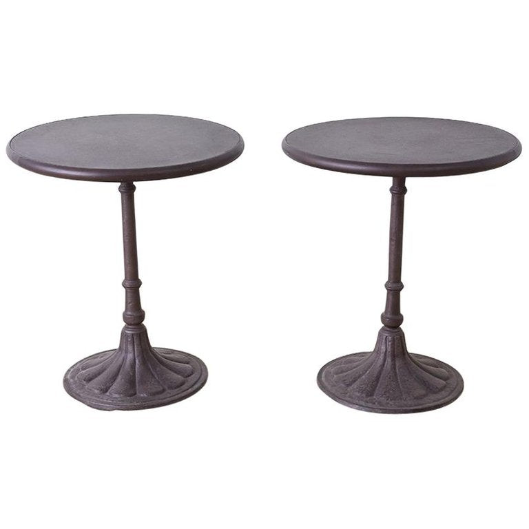 Pair of Parisian Style Iron Bistro Cafe Tables