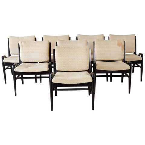 Set of Eight John Keal for Brown Saltman Dining Chairs
