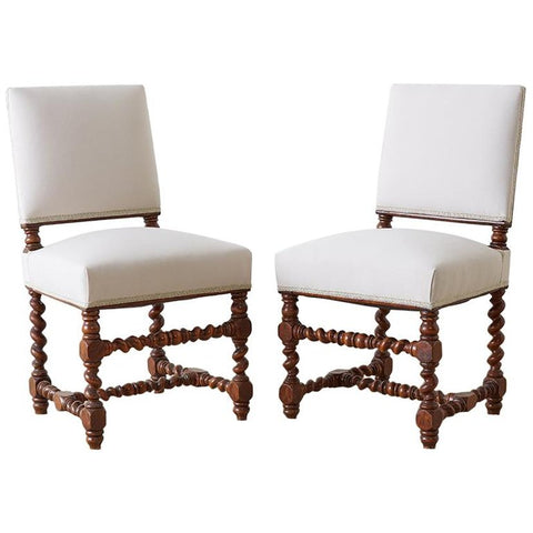 19th Century Pair of English Walnut Barley Twist Chairs