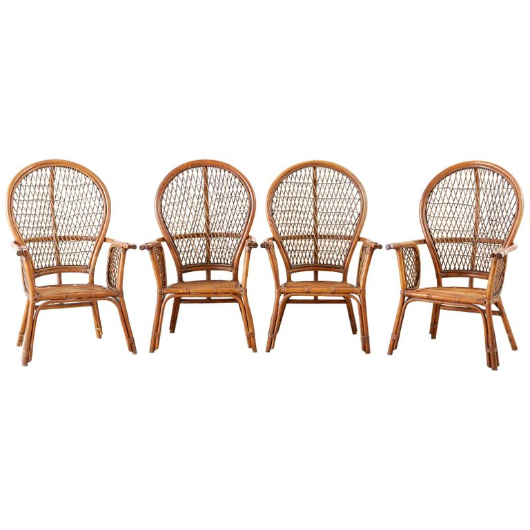 Set of Four Ficks Reed Rattan Peacock Lounge Chairs