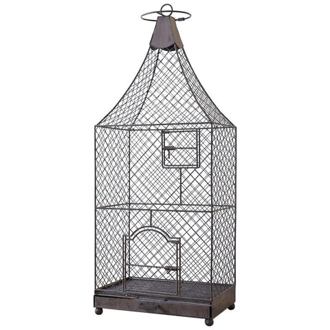 Monumental French Iron Pagoda Top Standing Bird Cage