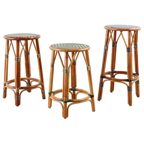 Set of Three Maison Gatti Rattan Bistro Bar Stools