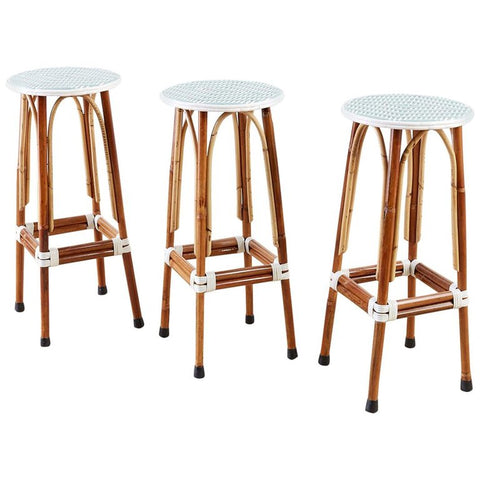 Set of Three Maison Gatti Rattan French Bistro Barstools