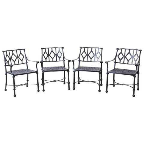 Set of Four Ebonized Cast Aluminum Garden Patio Chairs