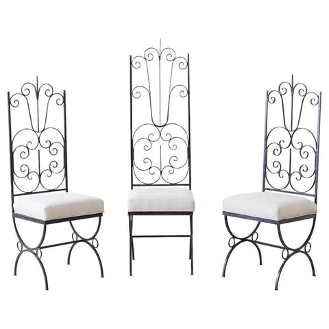 Arthur Umanoff Style Spanish Revival High Back Chairs