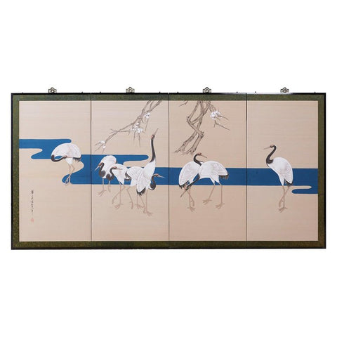 Japanese Showa Four-Panel Screen of Red Crowned Cranes