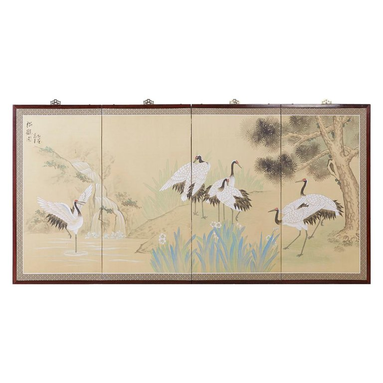 Japanese Four-Panel Screen Red Crowned Cranes