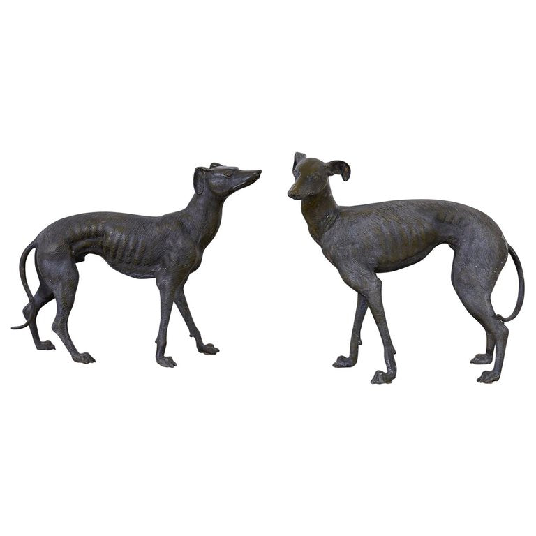 Bronze Whippets or Greyhound Dog Sculptures