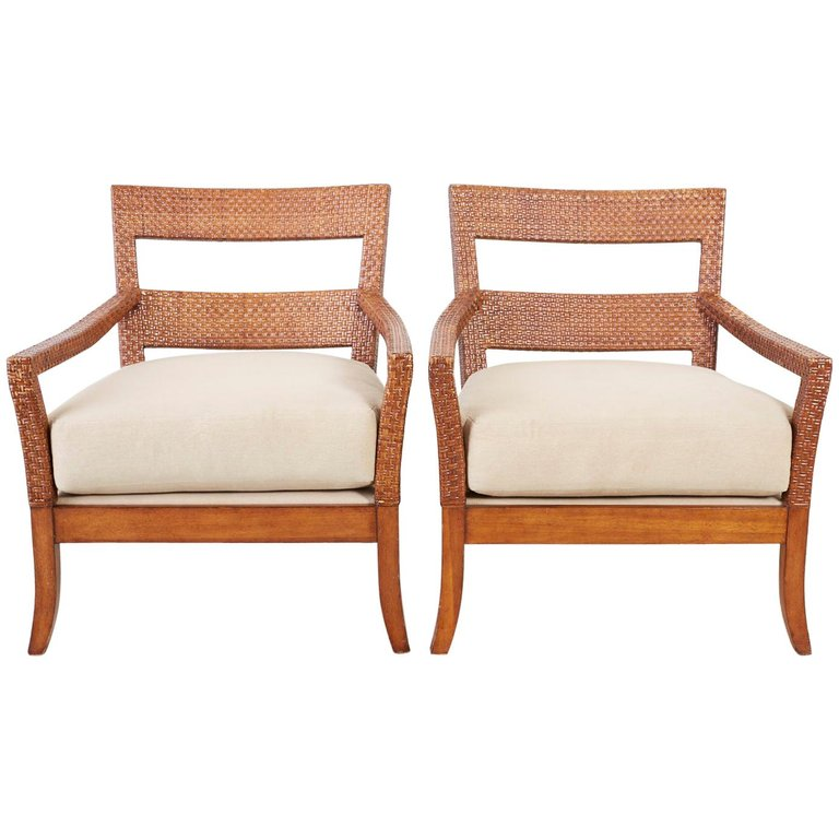 Billy Baldwin Style Rattan Wrapped Lounge Chairs