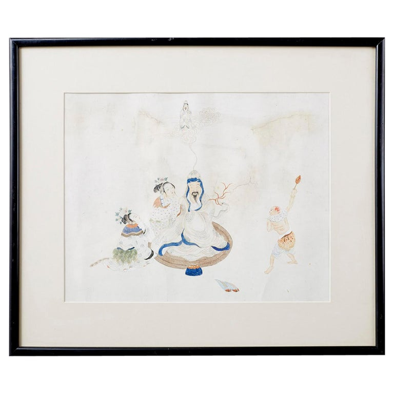 Chinese Framed Water Color of a Man and Woman