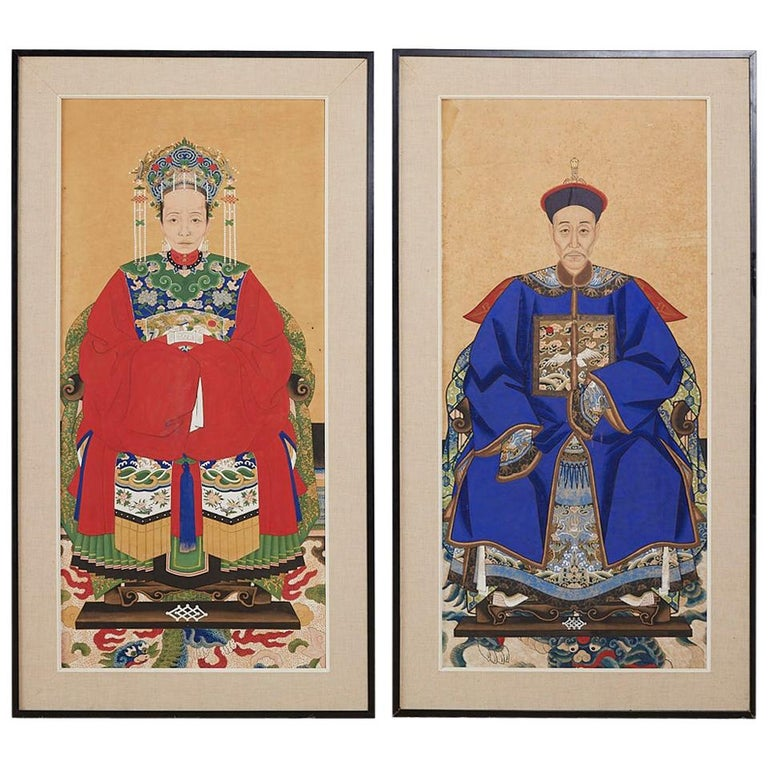 Pair of Chinese Patriarch Matriarch Ancestral Portraits