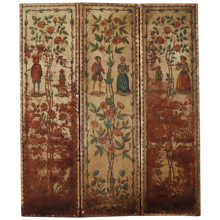 19th Century English Renaissance Revival Leather Painted Screen