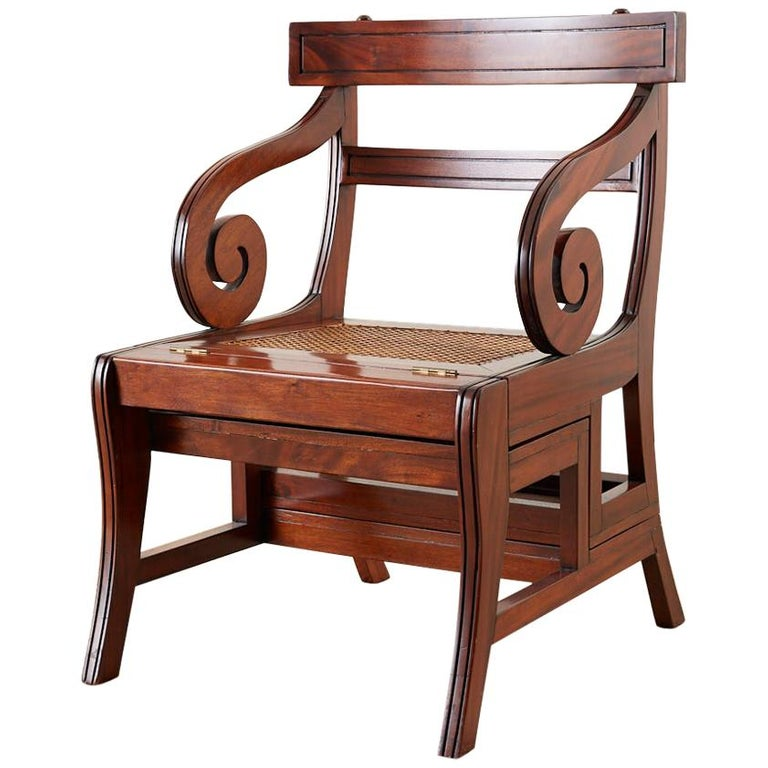 English Regency Style Mahogany Metamorphic Library Step Chair