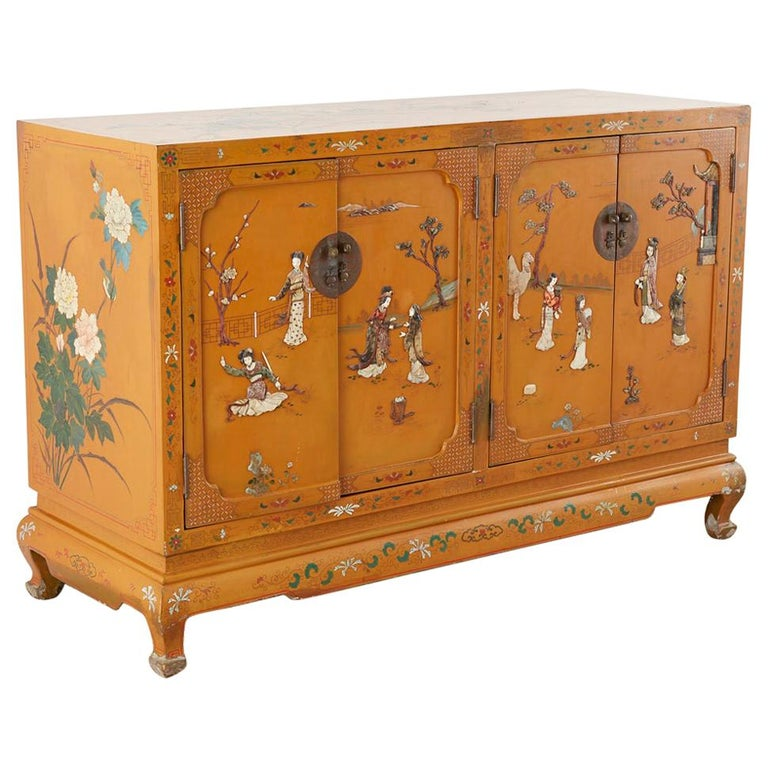 Chinese Orange Lacquered Cabinet with Soapstone Inlay