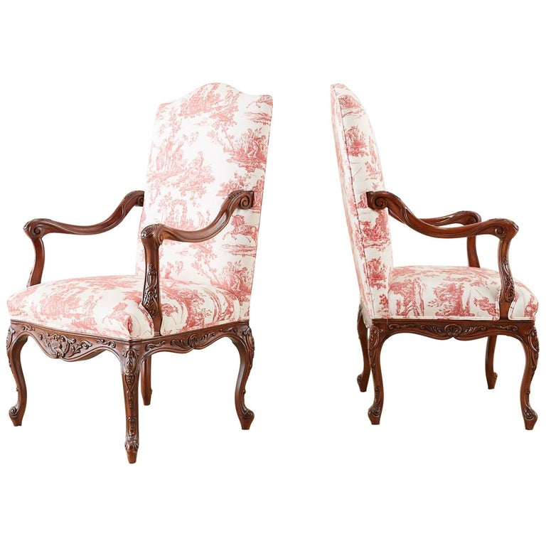 Pair of French Provincial Style Walnut Toile Fauteuil Armchairs