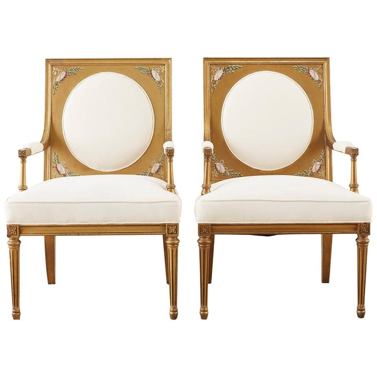 Pair of Louis XVI Swedish Gustavian Style Gilt Armchairs