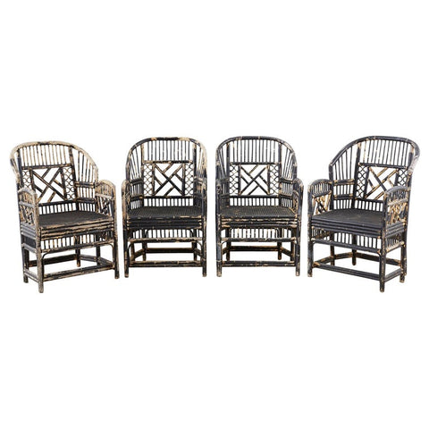 Brighton Bamboo Rattan Chinese Chippendale Lacquered Chairs