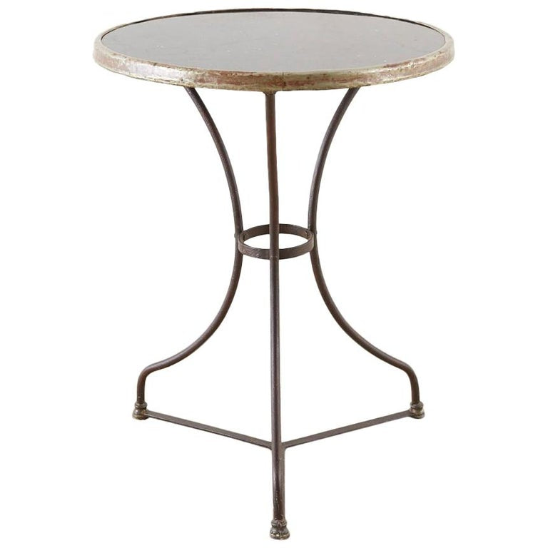 French Belle Époque Iron and Marble Bistro Cafe Table