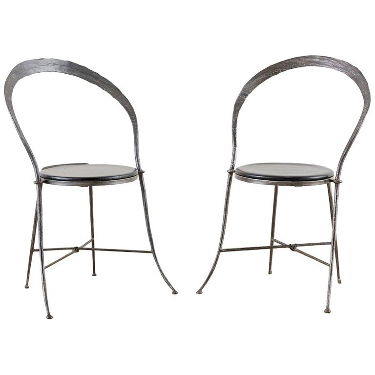 Pair of Giovanni Banci Midcentury Sculptural Iron Chairs