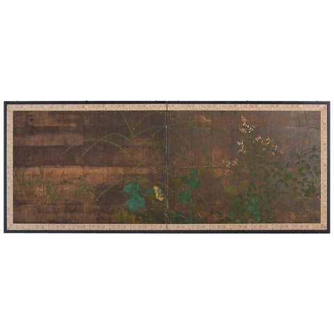 Japanese Two-Panel Rimpa School Style Foliage Screen